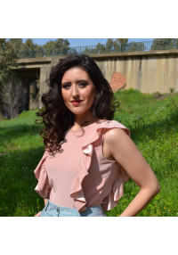 Blusa rosa encaje